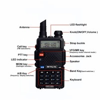 128ch 5w vhf uhf מכשיר קשר Baofeng UV5R הנייד הרדיו 5W 128CH UV5R UHF & VHF משדר Interphone שתי דרך רדיו RUA0850A RU משלוח (2)
