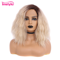 Imstyle Short Bob Ombre Blonde Wigs Curly Lace Front Wigs Heat Resistant Fiber Synthetic Hair Lace Wig Women Dark Root Cosplay