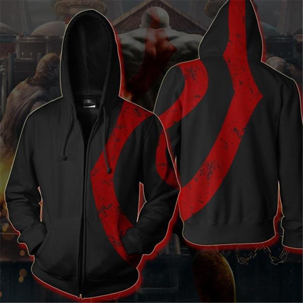 God of War 4 Kratos Hoodies Sweatshirts Zipper Jackets Coat Cosplay Costume