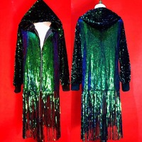 New Style Green Sequins Tassel Sparkly Jacket DJ Men Singer Dancer Nightclub Stage Coat Jazz Dance Show Slim Jacket Party Outfit