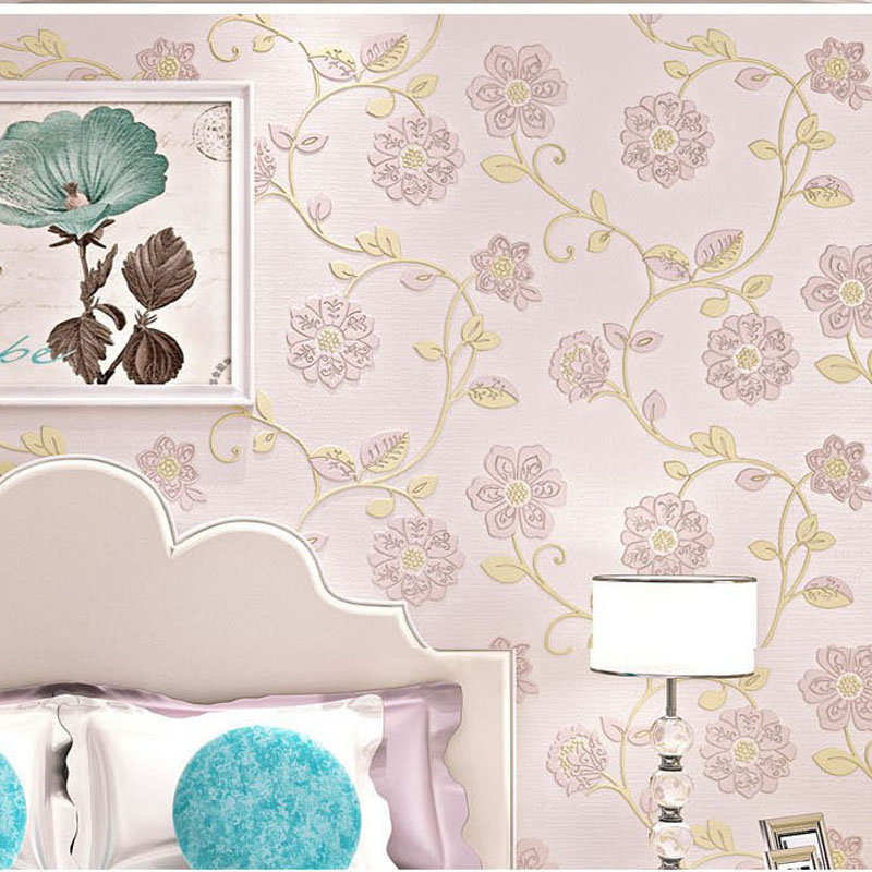 Bedroom wallpapers flower Pink floral wall paper roll for walls 3D Wall murals,wallpaper non-woven,papel de parede para sala rustic wallpaper 3d stereoscopic wallpaper roll non woven pastoral wallpaper for walls bedroom wall paper pink for living room