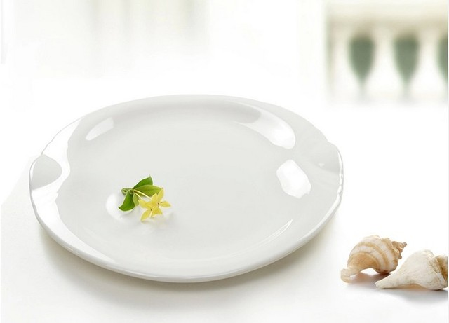 2 PCS 10 inch white European imitation porcelain plastic fast food dish melamine Veggie u0026 Cheese & 2 PCS 10 inch white European imitation porcelain plastic fast food ...