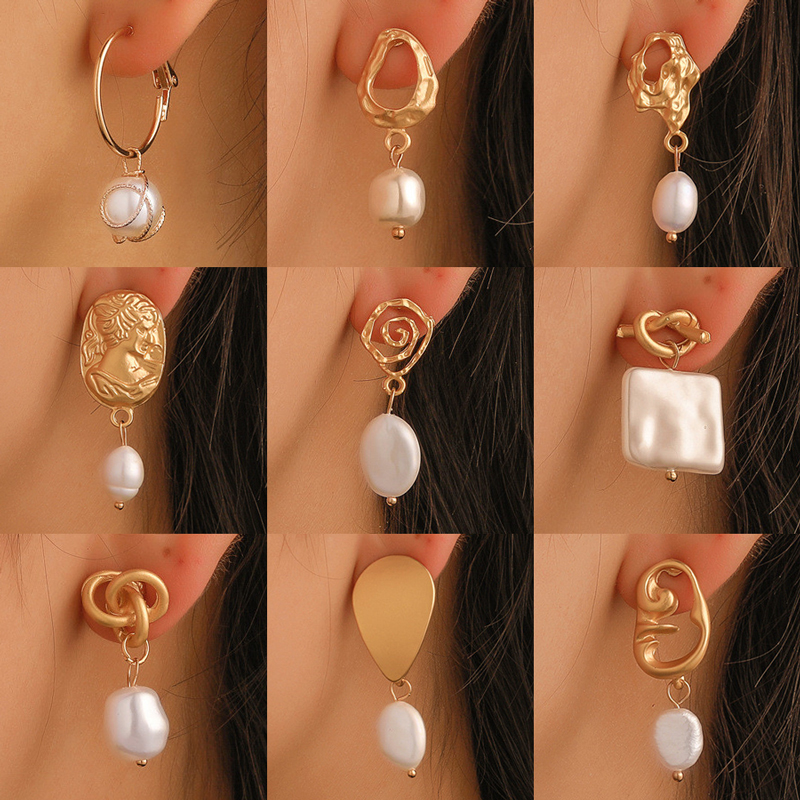 Modyle Korea Design Metal Gold Geometric Irregular Circle Square Natural Freshwater Pearl Drop Earrings for Women Girl Gift