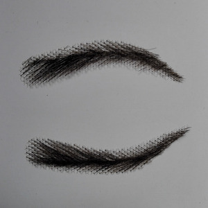 Image 3 - hand made human hair man false eyebrow black color hand knot fake eyebrow invisible swiss lace hand eyebrows
