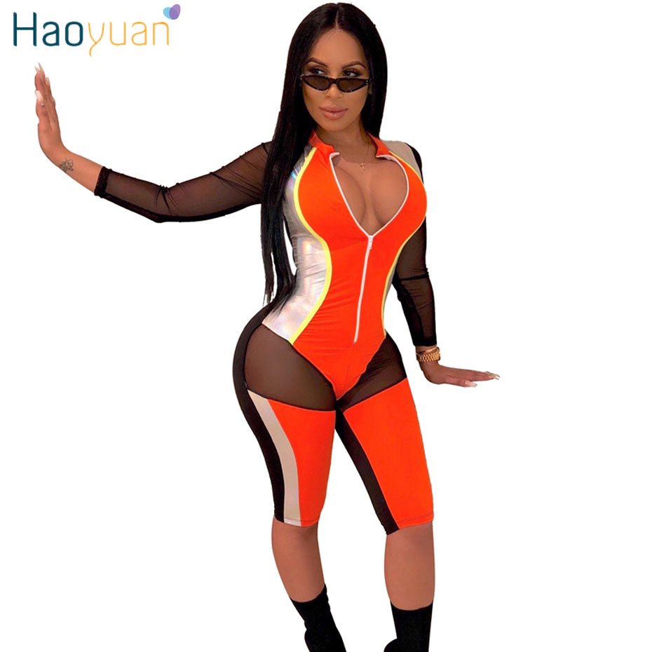 HAOYUAN PU Gilding Sheer Mesh Patchwork Sexy Short   Jumpsuit   Women Zipper V Neck Bodycon Overalls Rompers Club Party Playsuit