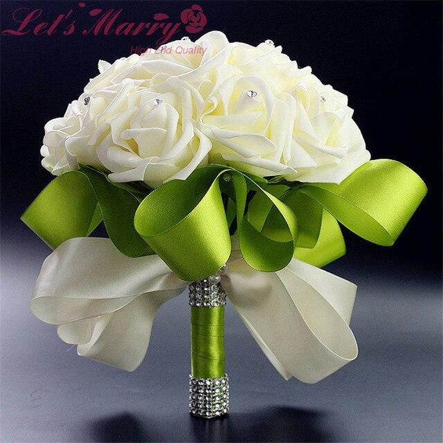 WDZ-281 Sheer Белая Роза И Зеленый Украшения Кристалл Свадебный Букет Горный Хрусталь Букет Свадебная Невесты Букет Де Noiva