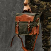 Oil wax canvas stitching vegetable tanned leather Art retro messenger bag men fashion slung handbag
