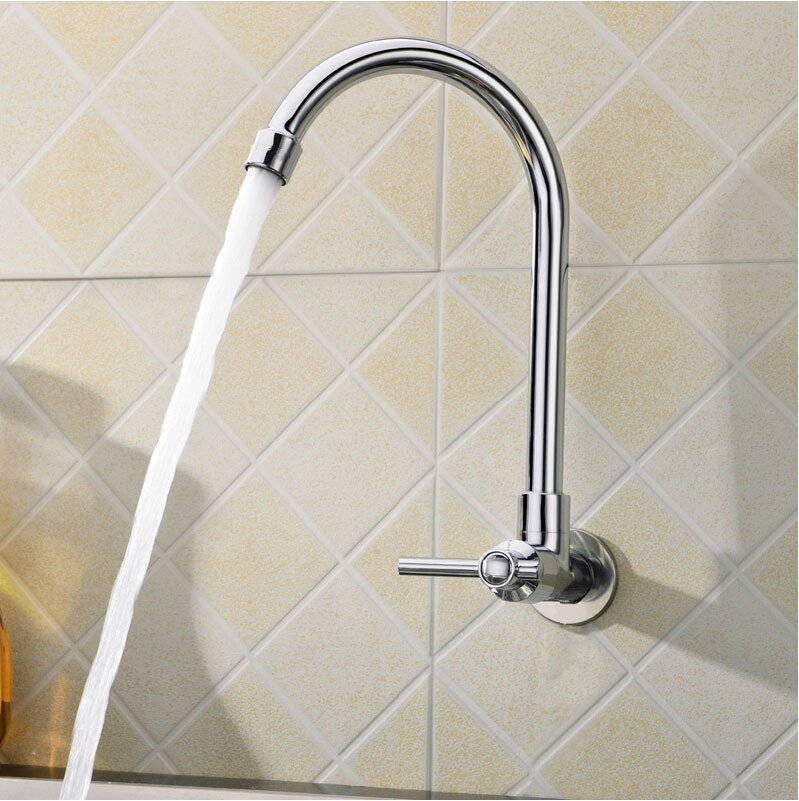 Free shipping High quality Inwall mounted single cold kitchen mixer tap of polished kitchen sink mixer