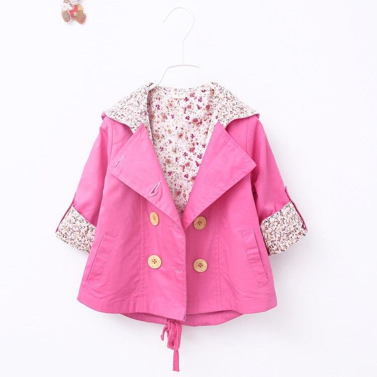2016 winter coat for girls trench coat  girls windbreaker for girls jacket Winter childrens clothing coat jacket park Halloween costumes for kids pink red windbreaker with belt (14)