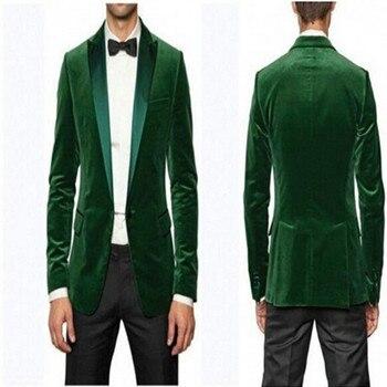 Nuevo estilo por encargo del novio esmoquin terciopelo verde solapa de los padrinos  de boda cena trajes mejor hombre novio (jacket + Pantalones + lazo) 0b37f3b8b02