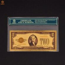 2 доллара США, Золотая банкнота, поддельная валюта, коллекция бумаги в 24K США