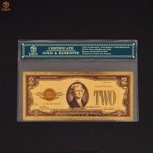 Billetes de oro de 2 dólares de EE. UU., colección de papel de moneda falsa en 24K, Estados Unidos de América