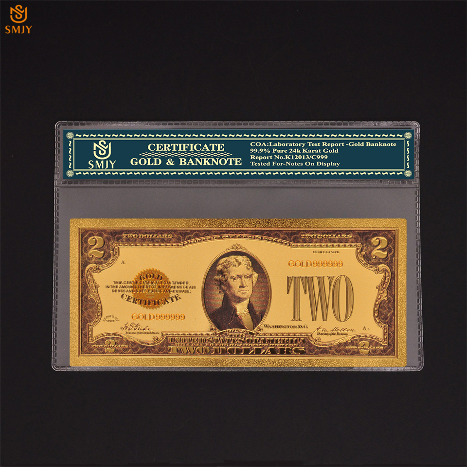 USA 2 Dollar Money Gold Banknote Fake Currency Paper Collection In 24K United States OF America