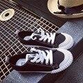 big size spring autumn wind black white lace up canvas shoes Vulcanize retro women platform shoes