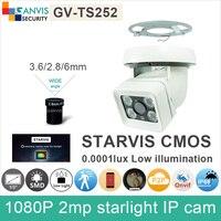 0.0001lux màu nightvision Full HD 1080 P camera IP 2mp SONY IMX291 ngoài trời an ninh CCTV video camera ONVIF P2P GANVIS GV-TS252