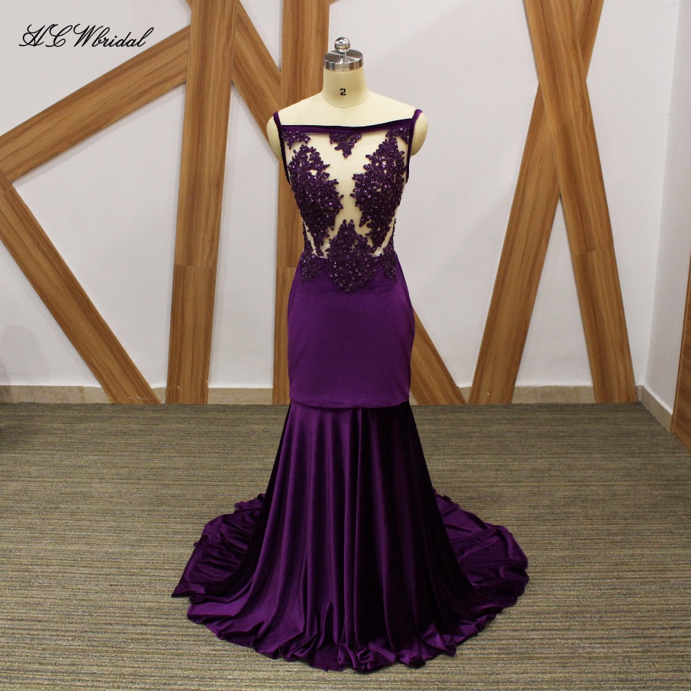 Purple Velvet Mermaid   Evening     Dress   Spaghetti Strap Beaded Illusion Long Sexy Prom Gowns 2019 New Women Wedding Party   Dresses
