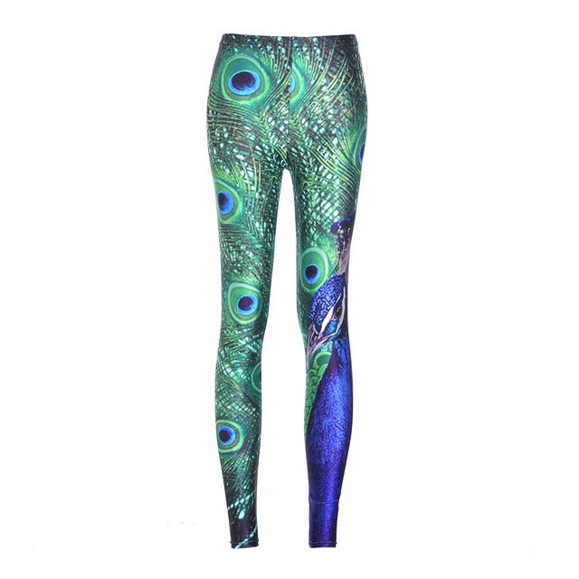 Sexy Lady Woman Stretch Fashion Leggings Plus Size Jeggings Peacock Print Slim New Casual Pants Fitness S-4XL Size Legging
