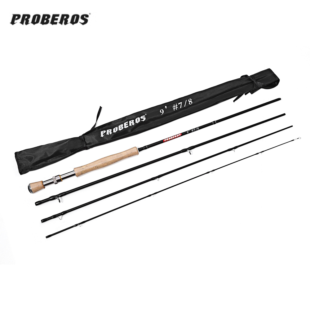 Proberos 2.7M Carbon Fly Fishing Rod Soft Cork Handle Fish Tackle Fly Rod Carbon Fiber Fly Fishing Rod 4 Section for stream lake