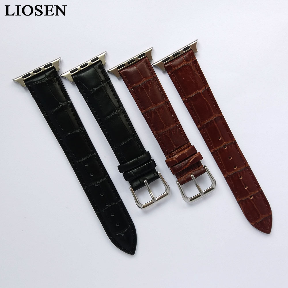 LIOSEN Watchband for Apple Watch Band iWatch Series 38mm 42mm Wristband Genuine Leather Watch Strap With Connector Adapter kakapi crocodile skin genuine leather watchband with connector for apple watch 38mm series 2 series 1 pink