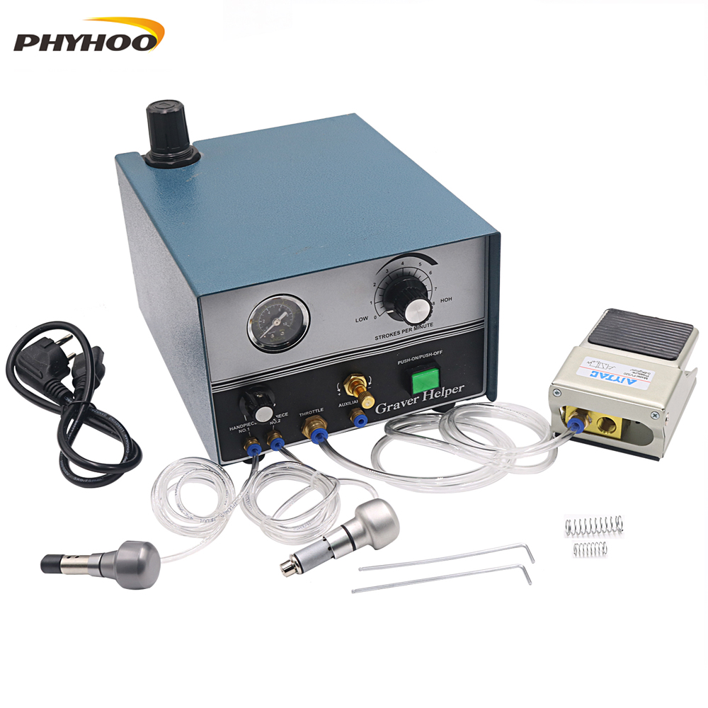 High Quality Graver Helper Pneumatic engraving machine with Two Handpieces Jewelry Tools  amp  Equipment 110V 220V