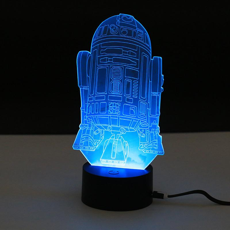 abajur novelty 3d night light usb led bedside table desk lamp cool r2d2 robot