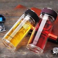 Mi Botella de 500 ml de Cristal Doble Termo de Vidrio Resistente Al Calor Flor Frasco Botellas de Agua Tazas de Té Con Filtro de Té Transparente