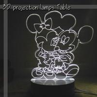 Mickey Minnie Three Dimensional Cartoon 3D Lamp Night Light Creative Led Lamp Table Lamp Bedside Lamp