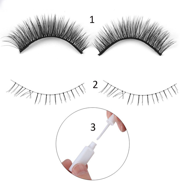 3 In 1 Beauty Makeup Silk Fiber Upper Lashes +Lower Lashes +1 ml Eyelashes Glue Kit Natural False Eye Lashes Extension Tools False Eyelashes