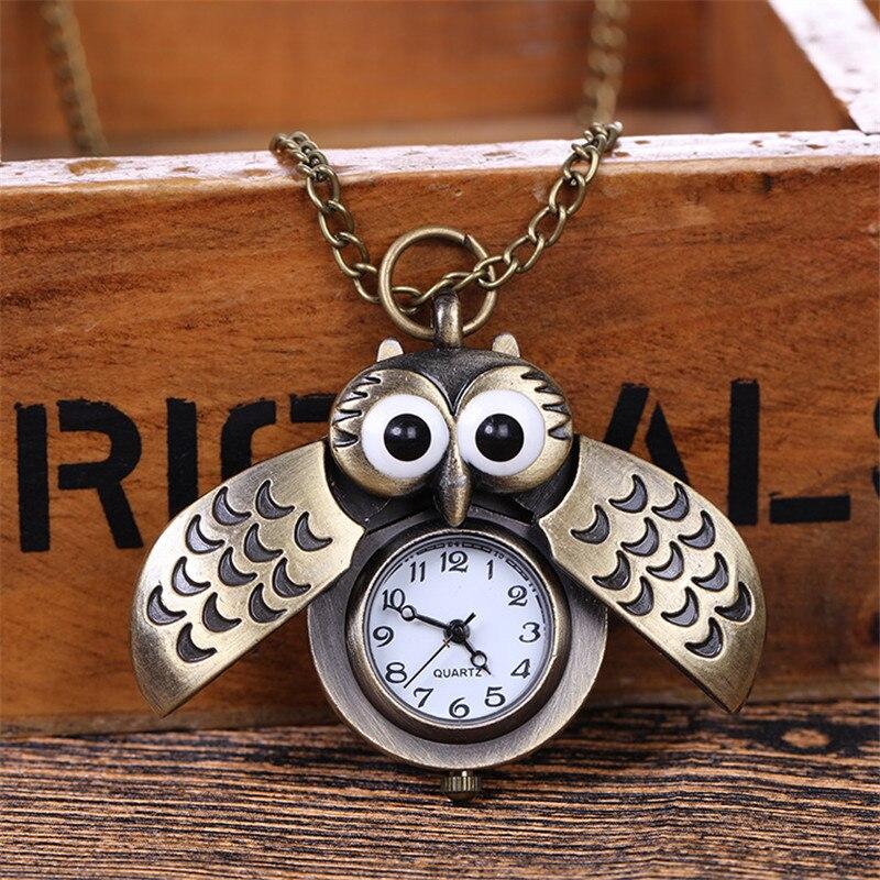 Gorgeous Double Open Owl Charm Unisex Fashion Quartz Pocket Watch Women Man Pendant Necklace Clock Kids Gifts Reloj De Bolsillo