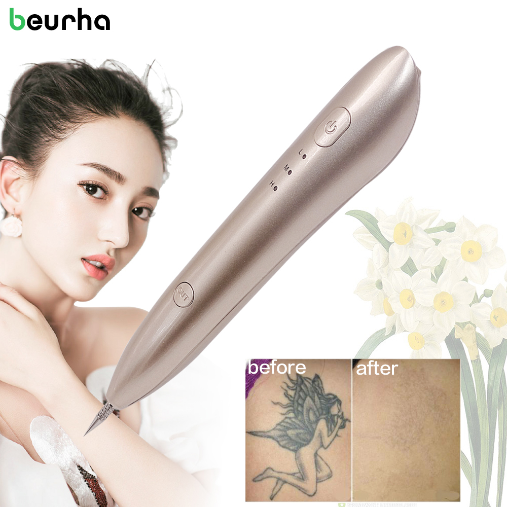 Beurha 3 Colors Freckle Removal Spot Pen Laser Mole Tool Electric Ion Spot Speckle Fleshy Nevus Fluorescence Lamp Beauty Device