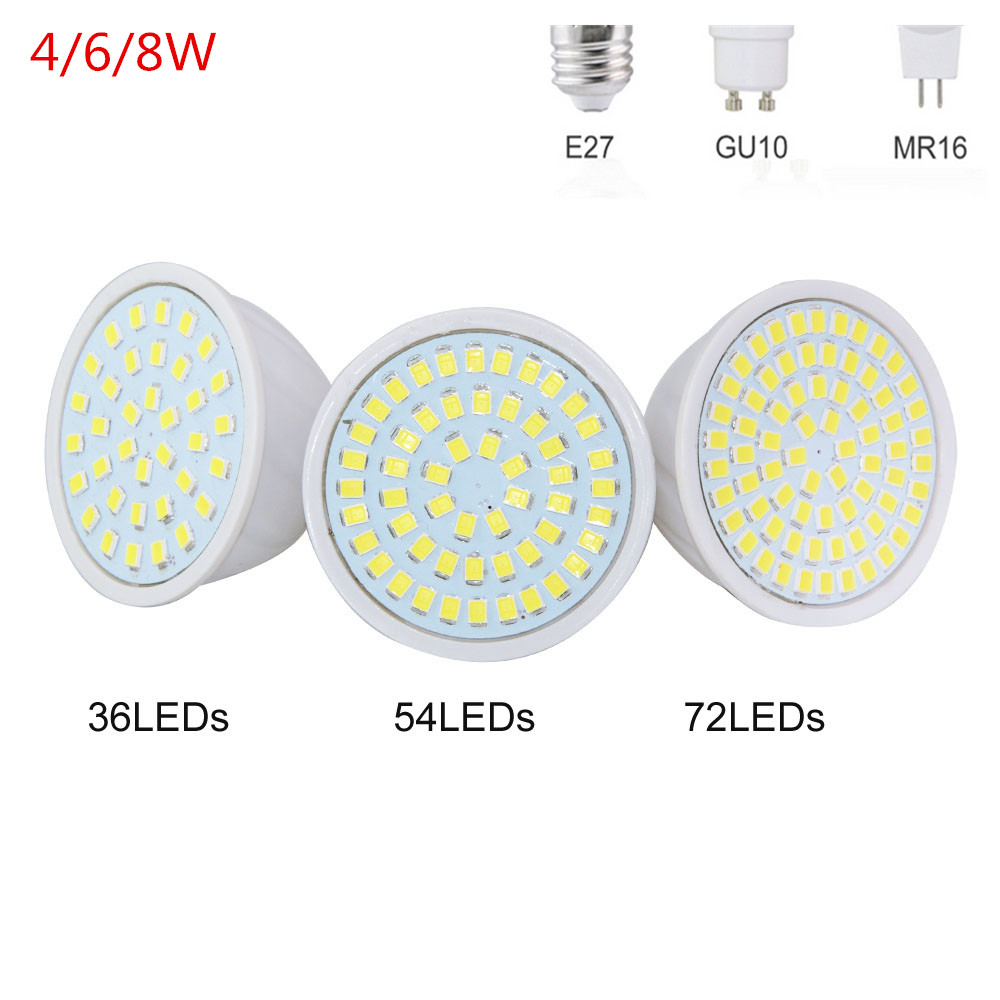 Light Bulbs Engergy Class Ac220v Led Spotlight Bulb E27 Gu10 Mr16 Gu5.3 2835 Smd 36/54/72leds Led Lamp For Home Light & Lighting Jade White Latest Collection Of A+
