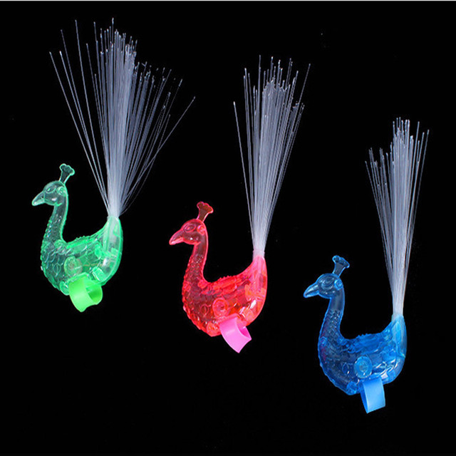 Finger Bright Peacock Colorful Change Led Flashing Fiber Optic Lights Kid's Night Toy