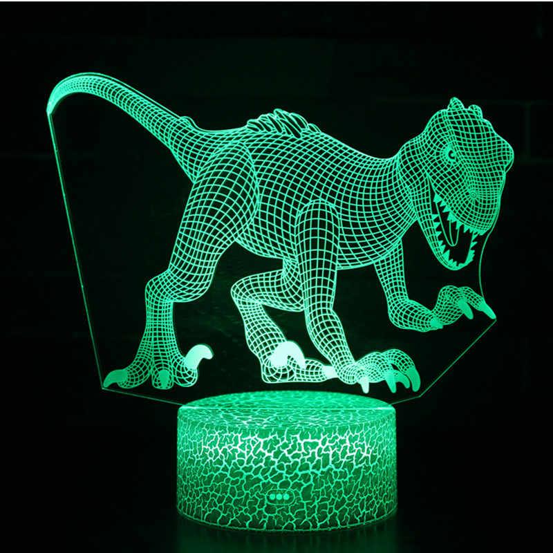 2018 3D Đồ Chơi Khủng Long Velociraptor illusion Đèn LED với 7 Màu Sắc Phát Sáng trong Bóng tối Đồ Chơi cho Trẻ Em Phòng Ngủ Trang Trí Nội Thất quà Tặng sinh nhật