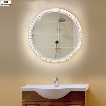 LED Crystal Bathroom Mirror Wall Lamp Bathroom Toilet Round Wall Light Makeup Mirror Lamp Indoor Decorations for Home Hotel Ktv 1
