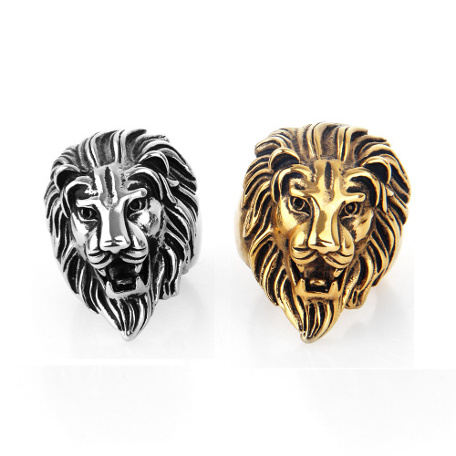 Luxury Gold silver Lion head rings mens stainless steel ring for
