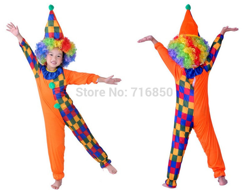 Dropshipping Children Clown Costume Hat + Jumpsuit + Curl hair wig Halloween holiday wear fairground performance kaleidoscope