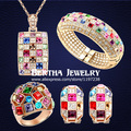 New Arrival Luxury Multicolored  Gold Plated Jewelry Sets Necklaces Ring Bracelets For Women With Swarovski Elements Cystal