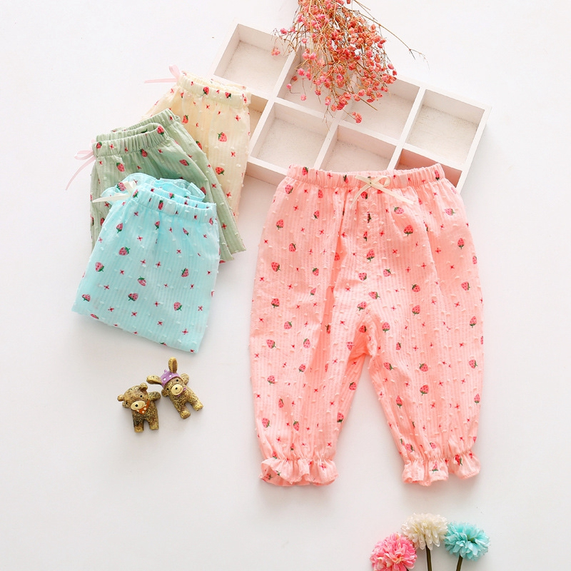 2017 Summer Baby Girls Infant Cute Strawberry Print Elastic Waist Casual Loose Kids Pants