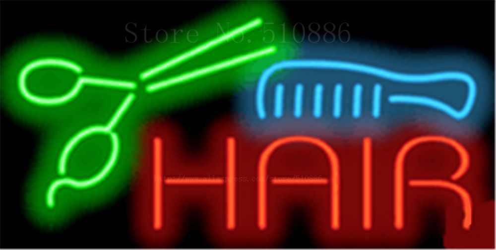 """Haar Kamm Offene Salon Glasrohr Auto leuchtreklame Businese Handcrafted Licht Club Pub Shop store Zeichen Schild Signage 19 """"x 15"""""""