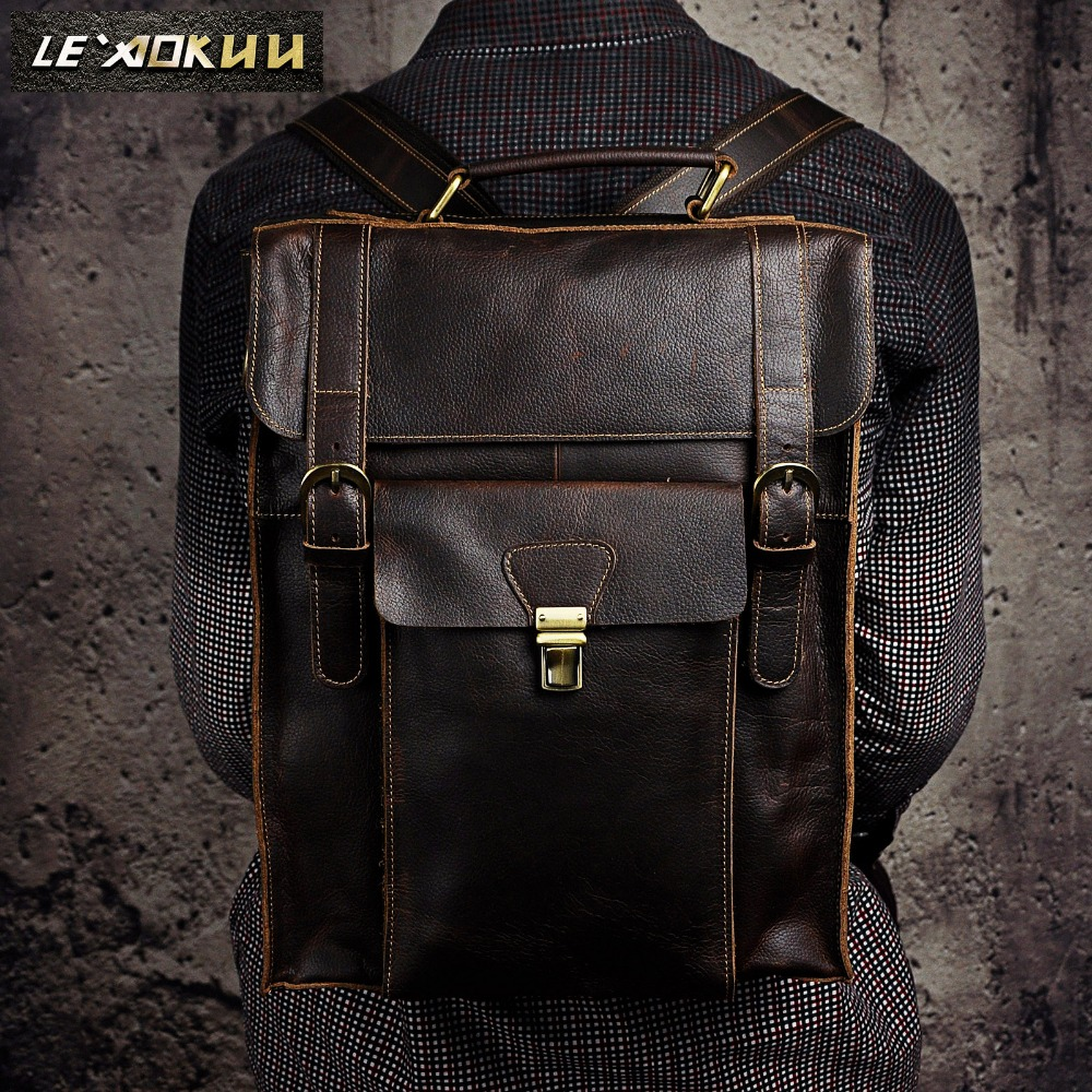 Original leather Designer University Student School Book Bag Male Fashion Knapsack Daypack Backpack Travel Laptop bag 2106 chic canvas leather british europe student shopping retro school book college laptop everyday travel daily middle size backpack