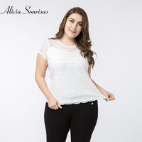 Plus Size Women Black T Shirt New 2018 Spring Summer Lace Short Sleeve Hollow Out Women
