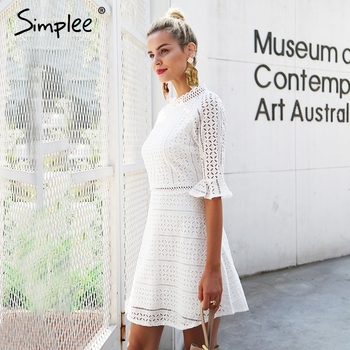 Simplee Elegant hollow out lace dress women Half sleeve summer style midi white dress 2018 Spring short casual dress vestidos 1