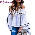 Eastdamo Sexy Off Shoulder Tops 2016 White Ruffles Blouse Slash Neck Ladies Elegant Tops Long Butterfly Sleeve Shirt  Blusas