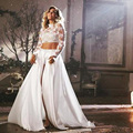 Bohemian Wedding Dresses Full Sleeve 2 Piece Bridal Gowns Chiffon and Lace vestidos de novia Custom Made Beach Wedding Gown