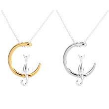 b0d04820c7bc Moda gato Luna colgante collar encanto plata oro Color Link cadena Collar  para mascotas afortunado joyería para mujeres regalo
