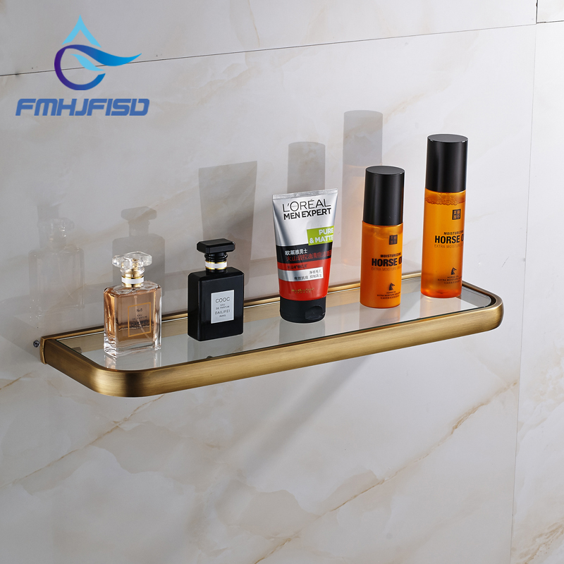 Good Price Factory Retail Antique Brass Bathroom Glass Shelf Storage Holder Wall Mounted copper bathroom shelf basket soap dish copper storage holder silver