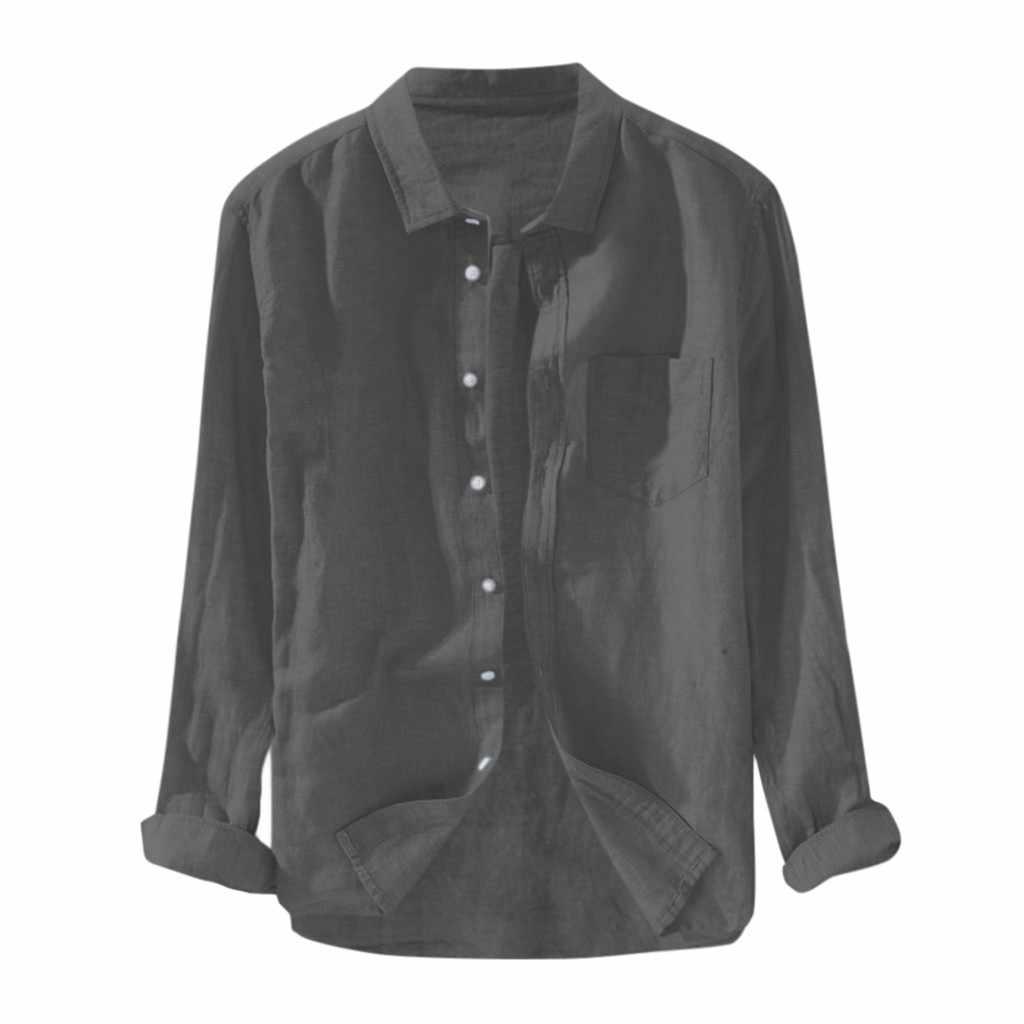 2019 Estate Più Il Formato degli uomini Baggy Solido Cotone di Lino Manica Lunga Button Pocket Camicette M-3XL camisa masculina camisas hombre