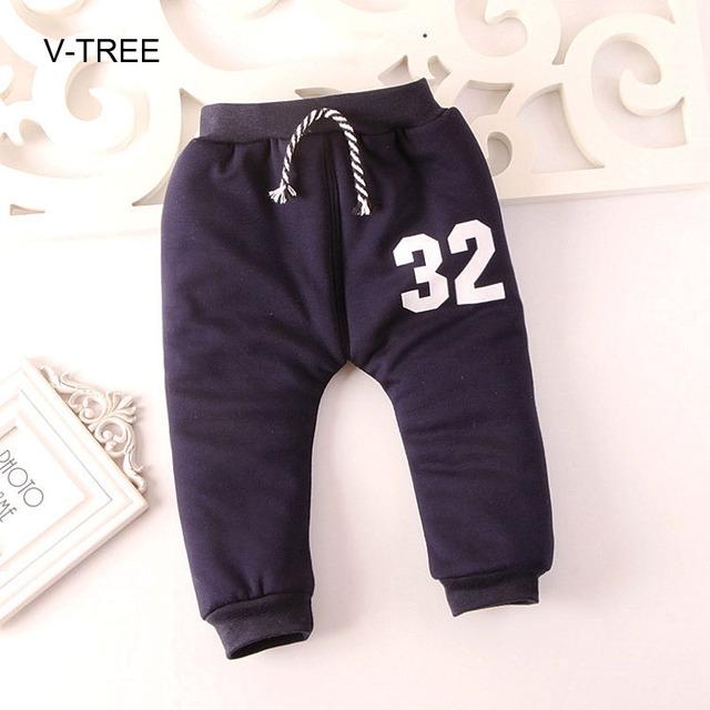Otoño e invierno engrosamiento bebé, además de pantalones de cachemir Impreso ocio bebé Harlan pantalones pantalones