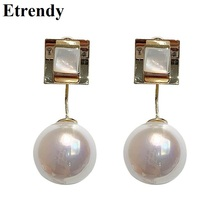 Fashion Pearl Earrings For Women 2019 White Geometric Ball Statement Hanging Korean Jewelry Wholesale