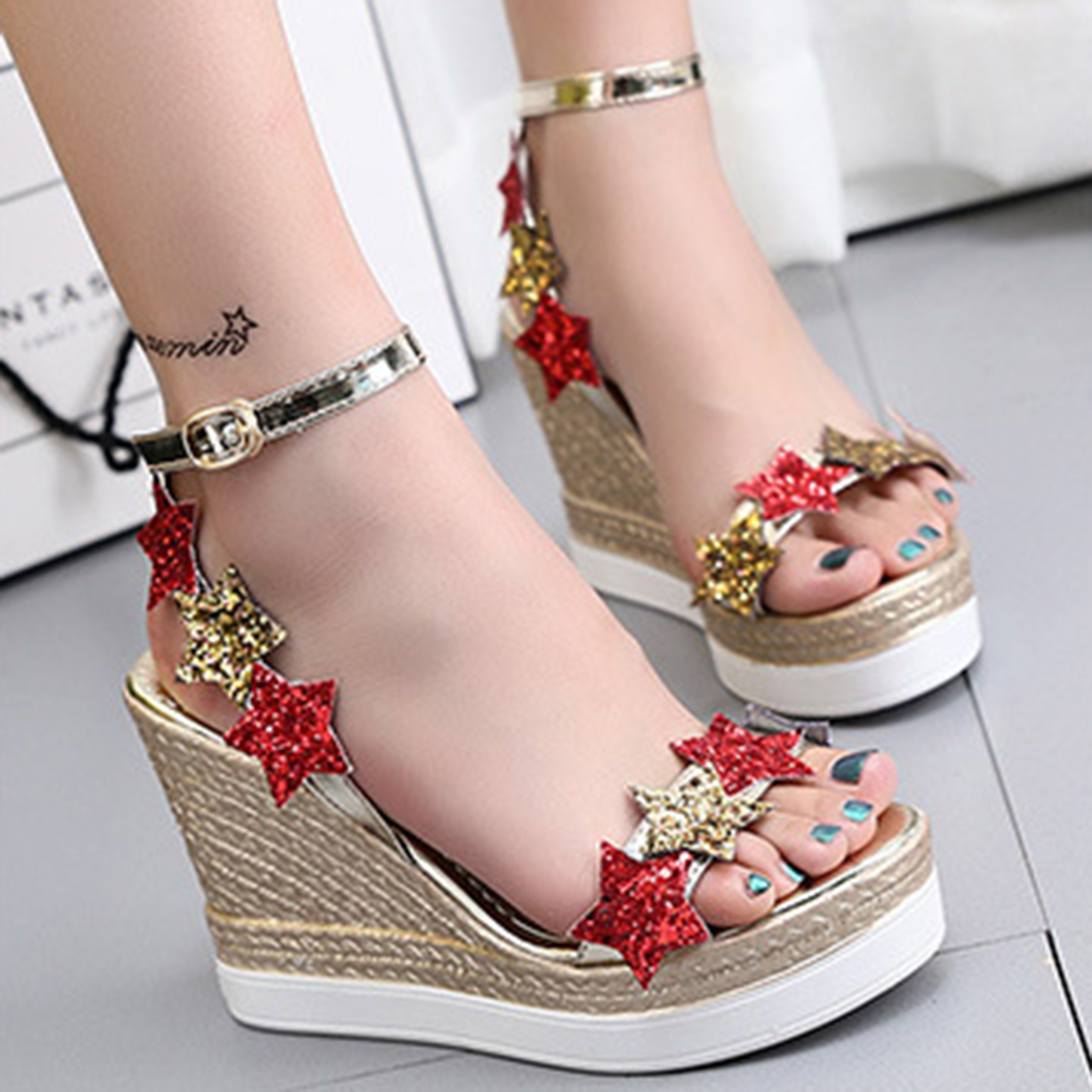 Mixed Color Fashion Summer Wedges Women's Sandals Platform Bling Stars Flip Flops open toe high-heeled Women shoes Female 2017 summer new wedges women s flip flops bling shoes woman high heeled sandals sequins antiskid platform women sandal black